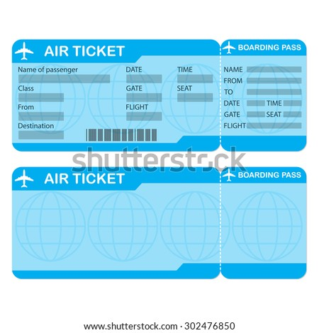Airline boarding pass ticket isolated on white background. Detailed blank of airplane ticket. Vector illustration.  - stock vector