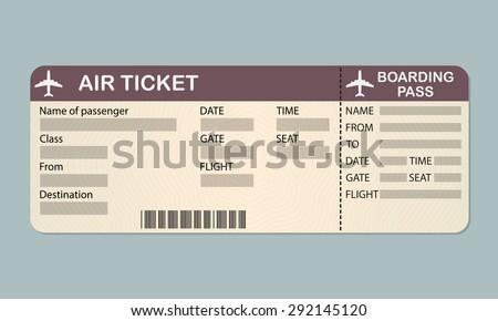 Airline Plane Ticket Template Boarding Pass Stock Vector 370260383