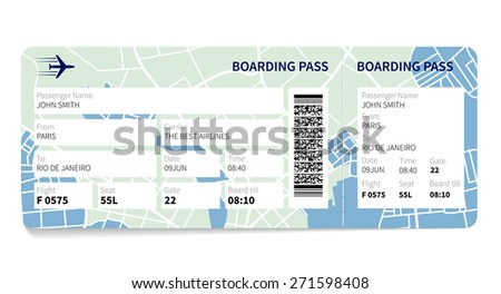 Airline boarding pass ticket with a map as a background. Vector illustration. - stock vector