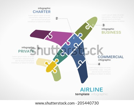 Airline concept infographic template with plane made out of puzzle pieces - stock vector