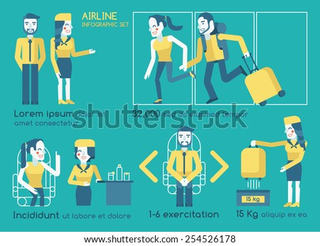 Airline infographics vector - stock vector
