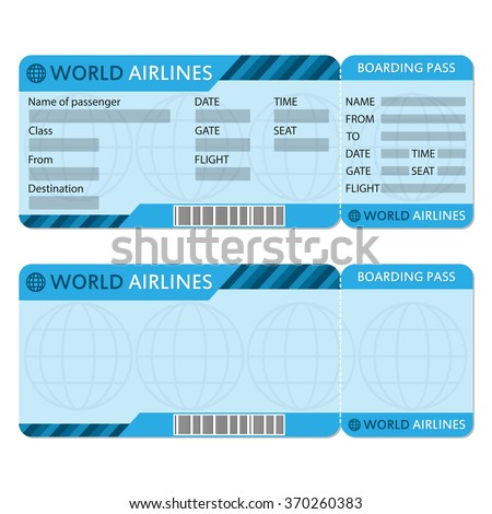Airline Plane Ticket Template Boarding Pass Stock Photo Photo