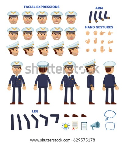 Airline pilot character creation set. Various gestures, emotions, diverse poses, views. Create your own pose, animation. Simple style vector illustration