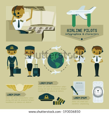 Airline pilot info graphics and characters - stock vector