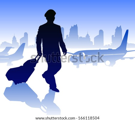 Airline pilot with luggage - stock vector