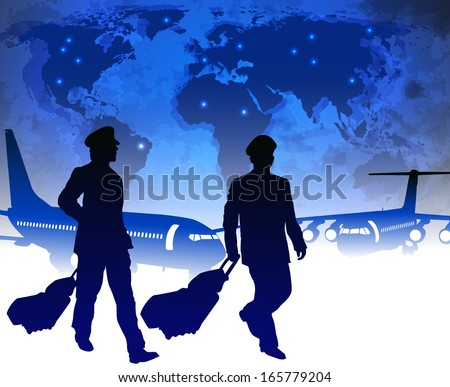 Airline pilots with luggage in airport - stock vector