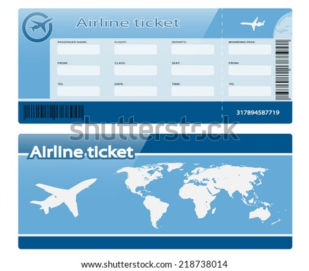 Airline ticket isolated on white background. Illustration. Vector - stock vector