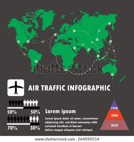 Airline traffic on world and infographic,air traffic vector. - stock vector