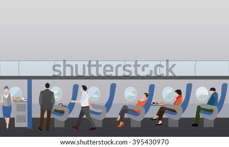 Airline travel passengers concept vector banner. People in airplane. Aircraft transport interior. - stock vector