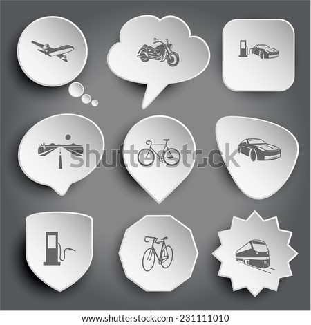 airliner, motorcycle, car fueling, road, bicycle, fueling station, train. White vector buttons on gray. - stock vector