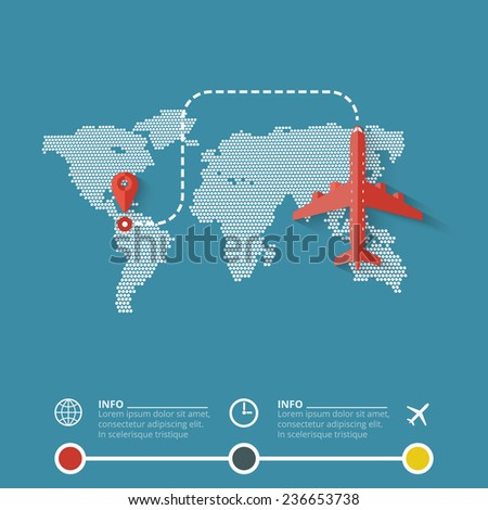 Airliner on world map background. Flat design illustration. - stock vector