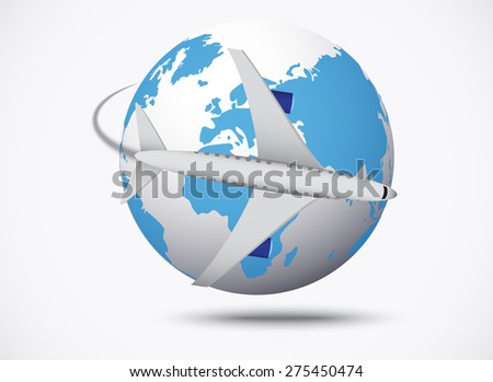 Airliner with globe in the white background. vector illustration. vector illustration - stock vector