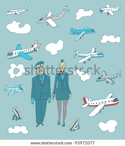 airlines set - stock vector