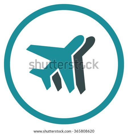 Airlines vector icon. Style is bicolor flat circled symbol, soft blue colors, rounded angles, white background.