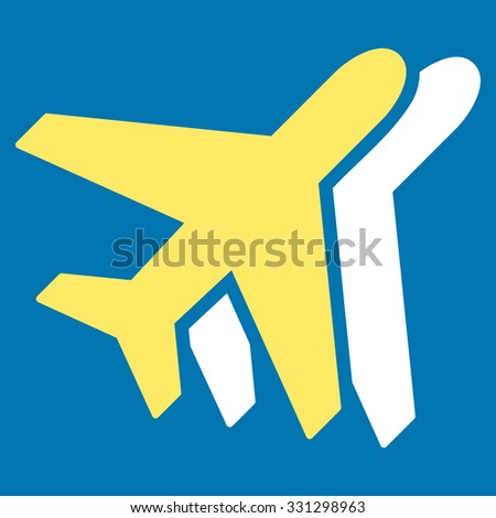 Airlines vector icon. Style is flat bicolor yellow and white symbol, rounded angles, blue background.