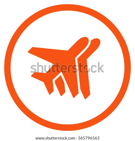 Airlines vector icon. Style is flat circled symbol, orange color, rounded angles, white background.