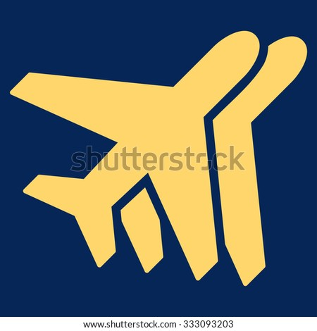 Airlines vector icon. Style is flat yellow symbol, rounded angles, blue background.