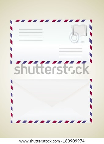 Airmail envelope with stamp. - stock vector