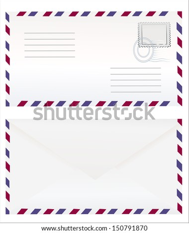Airmail envelope with stamp. Vector illustration - stock vector