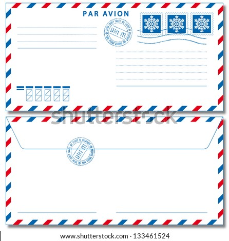 Airmail envelope with stamps. Vector illustration EPS10. - stock vector
