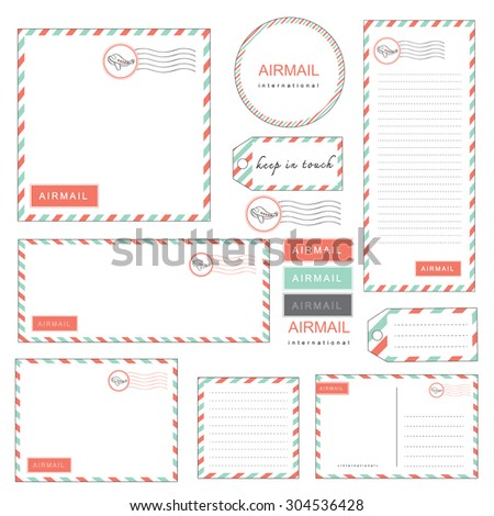 airmail letter set vintage style pastel color, paper, letter, envelope, tag, sticker, note