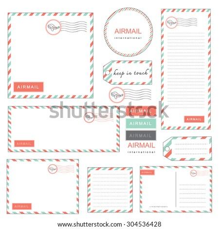 airmail letter set vintage style pastel color, paper, letter, envelope, tag, sticker, note - stock vector