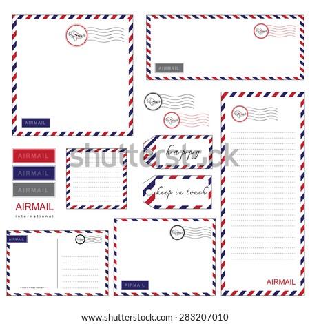 Airmail Stationery set, paper, letter,  envelope - stock vector