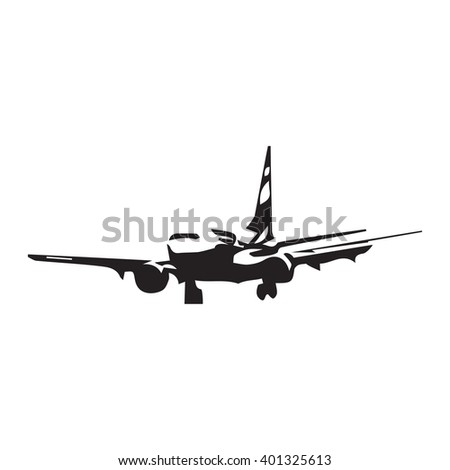Airplane abstract vector silhouette. Aircraft