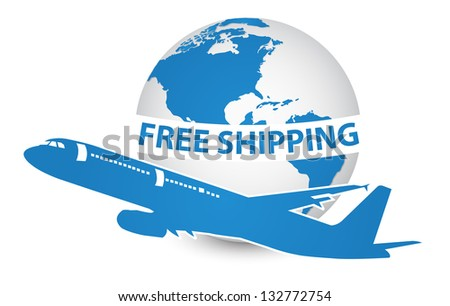 Airplane, Air Craft Shipping Around the World for Free Shipping Concept, Vector Illustration EPS 10.