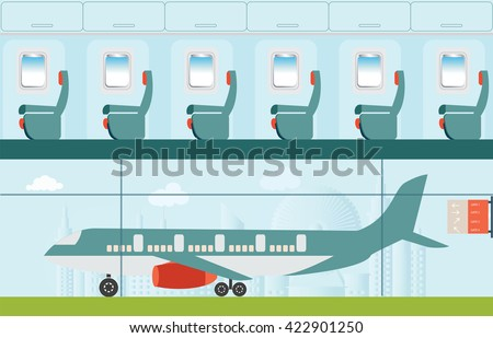 Airplane at the airport, on city view background and Airline interior with plane seat, business travel vector illustration. - stock vector