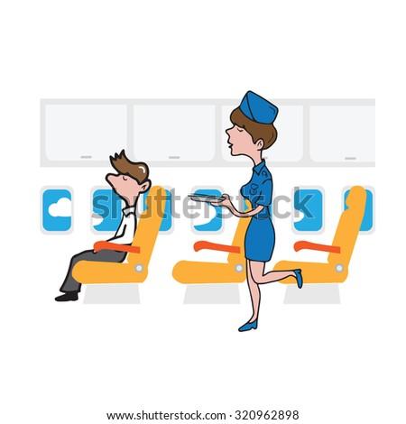 Airplane cabin passenger businessman and air hostess - stock vector