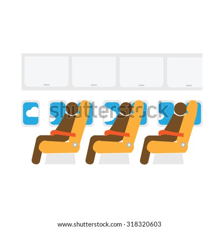 Airplane cabin seats air transportation passengers