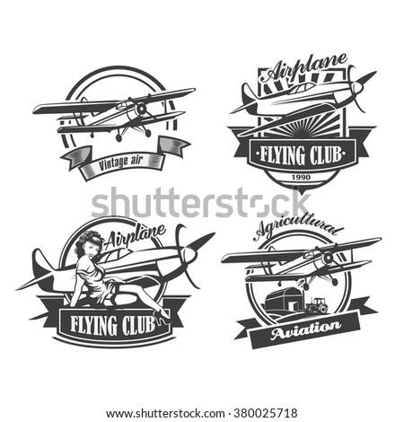 Airplane Club Vector Illustration Emblem, vector illustration set - stock vector