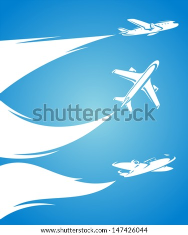 Airplane collection and blue background. Vector - stock vector
