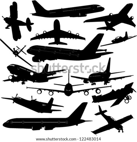 airplane collection - vector