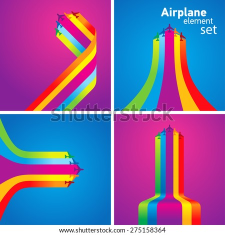 airplane colored stripes takeoff fly set - stock vector
