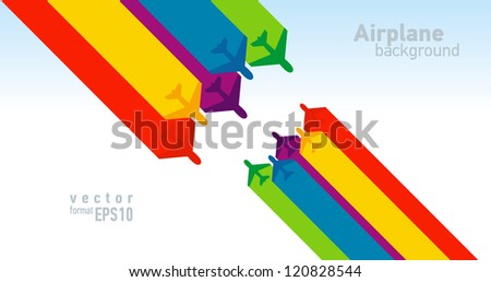 airplane colorful background takeoff - stock vector