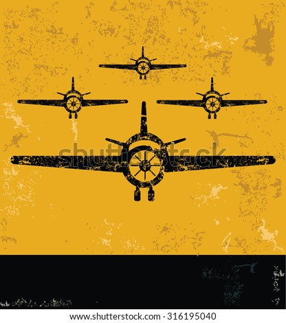 Airplane concept design, yellow grunge vector - stock vector
