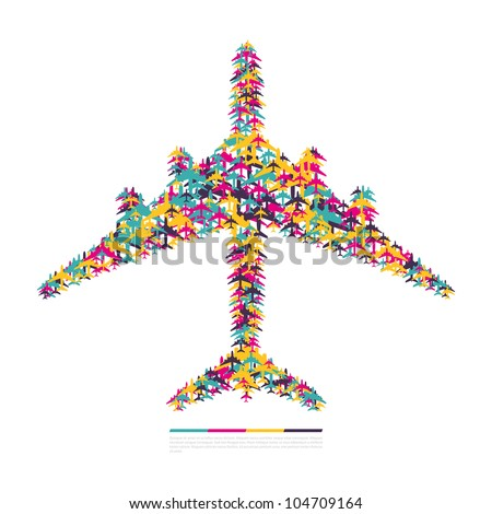 Airplane consisting of airplanes. Vector illustration. - stock vector