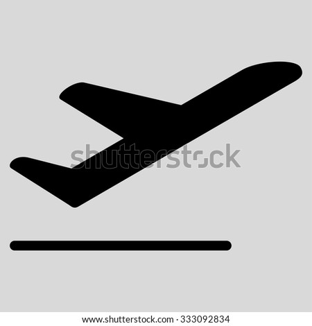 Airplane Departure vector icon. Style is flat black symbol, rounded angles, light gray background. - stock vector