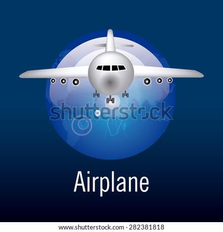 Airplane design over blue background, vector illustration. - stock vector