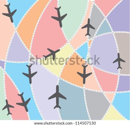 Airplane destination routes - stock vector