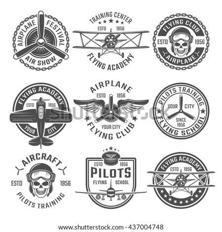 Airplane emblem or labels set with different shapes and headlines flying club flying academy and training centre for example vector illustration - stock vector