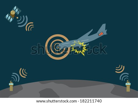 Airplane explodes and crashes and sends distress signal. Vector EPS10 illustration - stock vector
