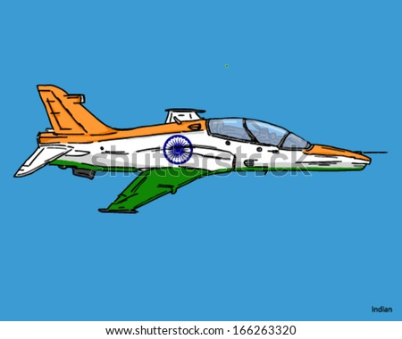 Airplane Fighter Jet Indian Flag Colors On