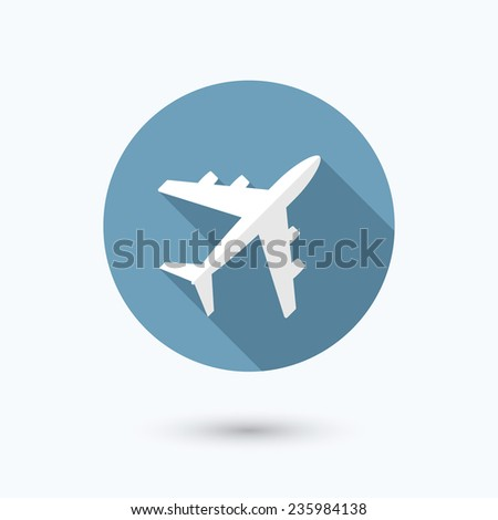 Airplane flat icon. Isolated on white background. Vector illustration, eps 10. - stock vector
