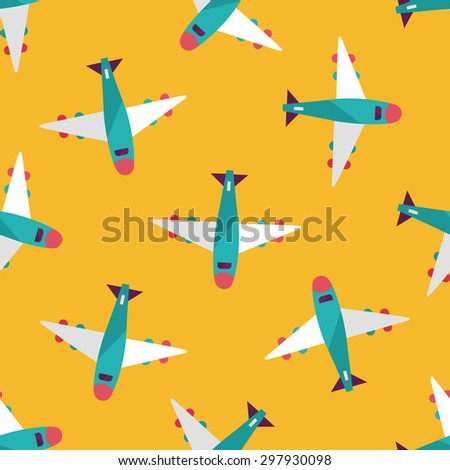 airplane flat icon seamless pattern background - stock vector