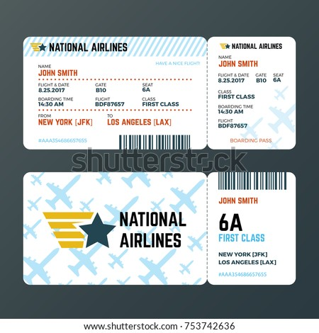 Airplane Flight Boarding Pass Ticket Isolated Stock-Vektorgrafik ...
