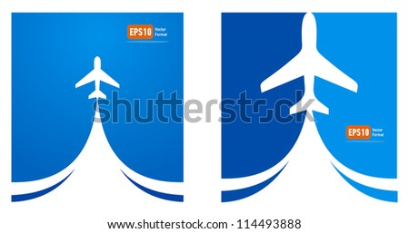 airplane flight tickets air fly cloud sky blue travel background takeoff - stock vector