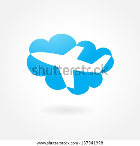 airplane flight tickets air fly cloud sky blue travel background takeoff symbol icon simple - stock vector